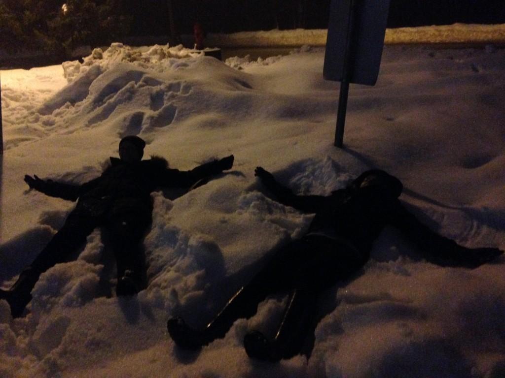 Snow angels in Whistler Village